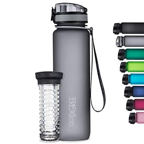 """720°DGREE Trinkflasche """"uberBottle"""" softTouch +Früchtebehälter – 1L – BPA-Frei – Wasserflasche für Uni, Sport, Fitness, Fahrrad, Outdoor – Sportflasche aus Tritan – Leicht, Bruchsicher, Nachhaltig"""