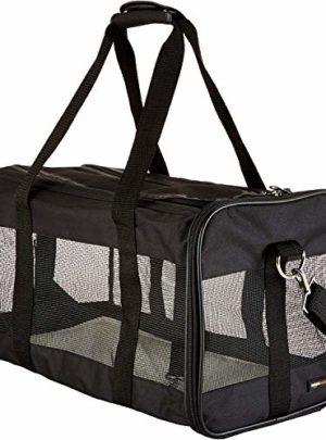AmazonBasics Transporttasche für Haustiere, weiche Seitenteile, Schwarz, Größe L