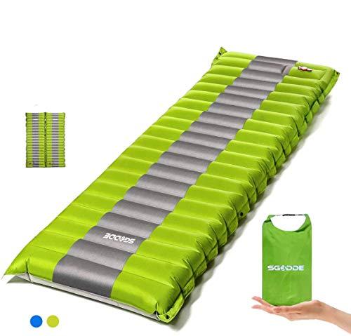 SGODDE Isomatte Camping Selbstaufblasbare,Handpresse Aufblasbare,leichte Rucksackmatte für Wanderungen zum Wandern auf Reisen,langlebige wasserdichte Luftmatratze kompakte Wandermatte (Grün)