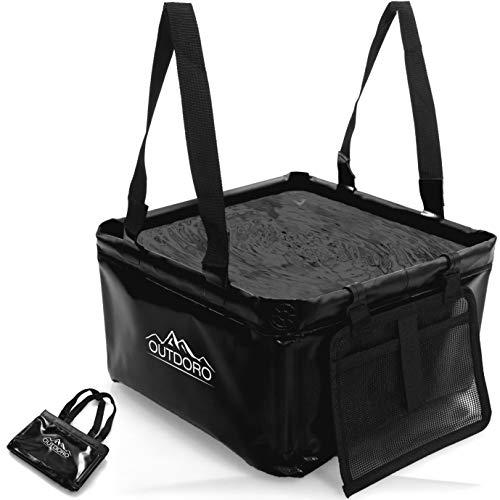 Outdoro Faltschüssel Groß – 16 Liter – Inklusive Zusatz-Tasche – Langlebiges Planen-Gewebe – Faltbare Waschschüssel für Camping und Outdoor