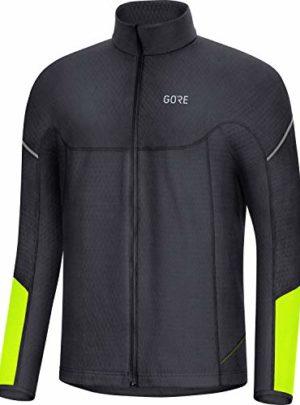 GORE WEAR M Thermo Herren Langarm-Shirt, L, Schwarz/Neon-Gelb