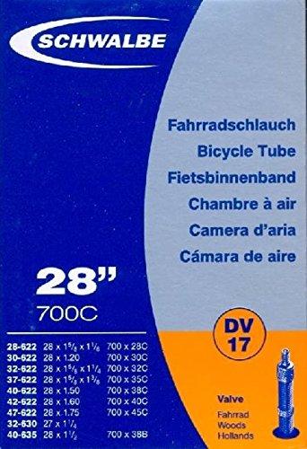 Schwalbe Fahrradschlauch DV17 mit Blitzventil ~ 28″ ~ 37-622 mm (28 x 1 3/8 x 1 5/8 Zoll) (28 x 1.40 Zoll)