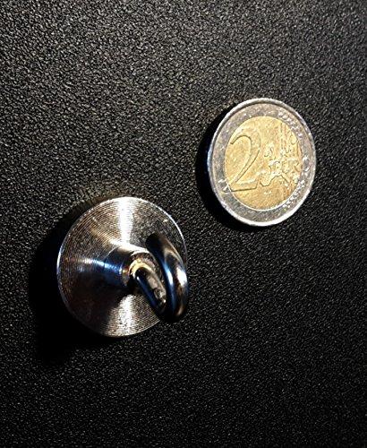 5 x Extrastarke Neodym-Magnethaken/Hakenmagnete/Topfmagnete mit Haken mit 25mm Duchmesser und einer Haftkraft von 18kg